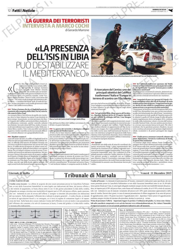 Intervista Questione libica Giornale di Sicilia